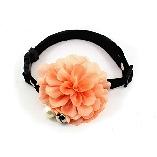 "PETFAVORITESâ""¢ Designer Wedding Flower Suede Leather Pet Cat Dog Bow Tie Collar Necklace with Bell Charm for Pets Cats Medium or Large Dogs Female Puppy Yorkie Girl (Salmon Pink, Size: 10"