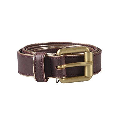 Marc Jacobs Men'S Leather Brown Gold Buckle Belt Us 33-37 It 95