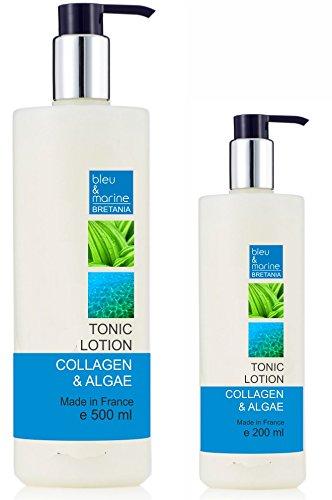 bleu&marine Lozione Tonica Collagene e Alghe 200 ml Lozione Pulizia Riduttore Pori senza alcool - Tutti i tipi di pelle