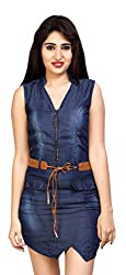 Carrel Brand Imported Denim Fabric Stylish Sleevless A-line Short Dress with Belt Dark Blue Colour Women L Size.