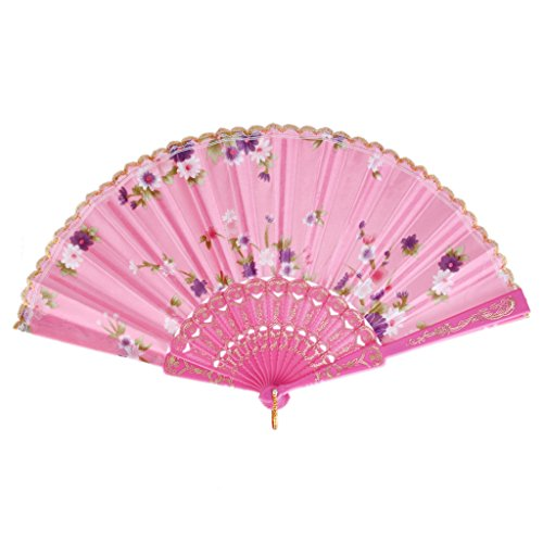 Retro Folding Spanish Floral Fabric Lace Dance Wedding Party Hand Fan - Pink