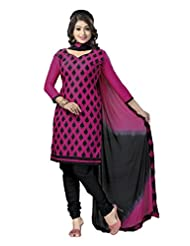 PShopee Pink & Black Cotton Embroidery Unstitched Dress Material