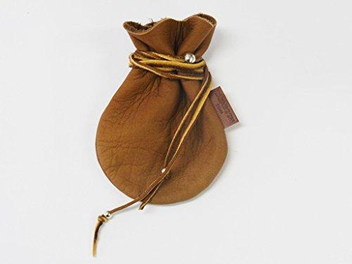JAJABOON パイレーツ 財宝袋 茶 プレミアム 鹿革 巾着 コイン ケース(波型)