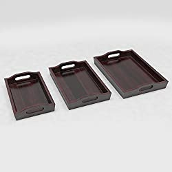 DecorNation Solid Wood Creative Serving Tray Set of 3 Trays With Handles - Mahogany Finish