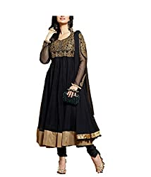 Kimberly Women's Net Embroidered Anarkali Embroidered Semi-Stitched Salwar Suit (SRA-01_Black)