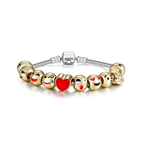Genji-Emoji-Charms-Bracelet-18K-Gold-Plated-With-10-Pieces-Enamel-Emoji-Faces