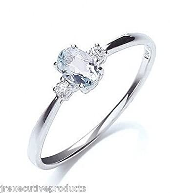 White Gold Real Aquamarine Oval & Premium Diamond Ring (size K - T available)