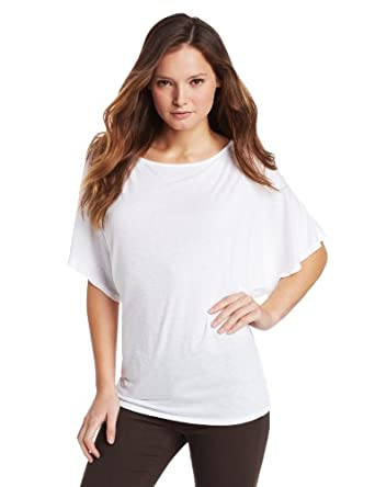 Michael Stars Women's Short Sleeve Off Shoulder Dolman Shirt, White, One Size