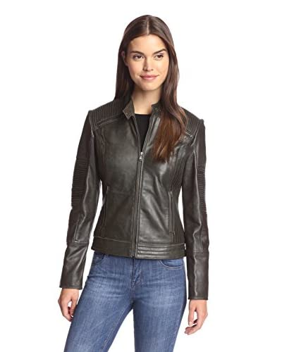7 For All Mankind Women's Leather Jacket with Tucking Detail