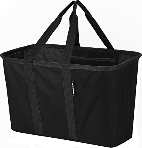 CleverMade SnapBasket Collapsible Shopping Tote, 30 Liter Soft Sided Bag, Black/Black