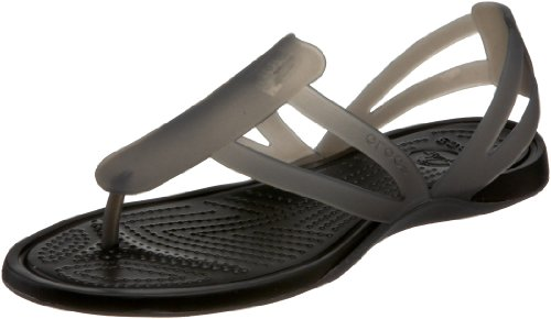 crocs Women's Adrina Strappy Thong Sandal,Black/Black,10 M US