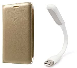 Novo Style Samsung Galaxy j7 Premium PU Leather Quality Golden Flip Cover + Mini USB LED Light Adjust Angle / bendable Portable Flexible USB Light