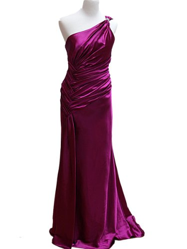 One Shoulder Satin Goddess Formal Prom Dress