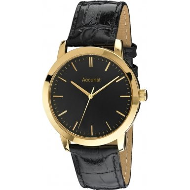 Accurist Mens Black Leather Strap Watch MS671B