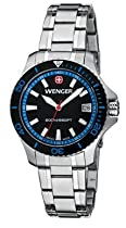 Wenger Ladies Sea Force Swiss Watch w/ Black & Blue Dial Black & Blue Bezel Bracelet 621.104