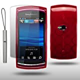 SONY ERICSSON VIVAZ RED GEL COVER CASE WITH SCREEN PROTECTOR & STYLUS BY CELLAPOD CASES