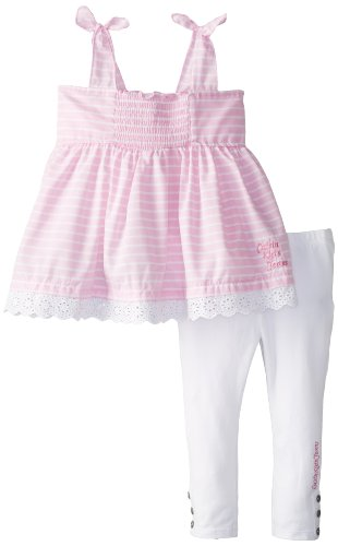 Calvin Klein Little Girls' Smocked Woven Set With Leggings Tod, Pink/White, 3T front-318391
