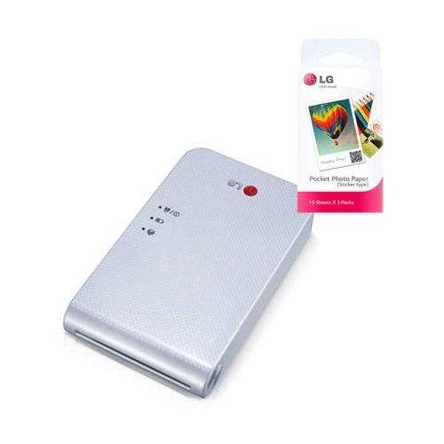 LG-Popo-Pocket-Photo-Printer-PD239-White-Bundle-with-30-Pack-of-Inkless-Photo-Paper-for-Android-iOS