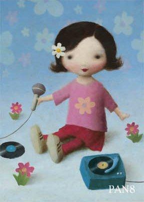2 für 1 Angebot !!! Geburtstag Mädchen mit Plattenspieler Grußkarte - By Stephen Mackey