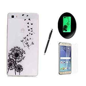 Sireken HUAWEI P8 Lite Case [With Free Tempered Glass Screen Protector],HUAWEI P8 Lite Luminous Case [With Free Stylus],Fluorescent Effect Night Glow In The Dark Ultra Thin Slim Fit Transparent Clear Soft Flexible Bumper Silicone Gel Rubber Jelly TPU Protective Cover Skin With Fashion Unique Printed Pattern Design for HUAWEI P8 Lite-Birds With Dandelions