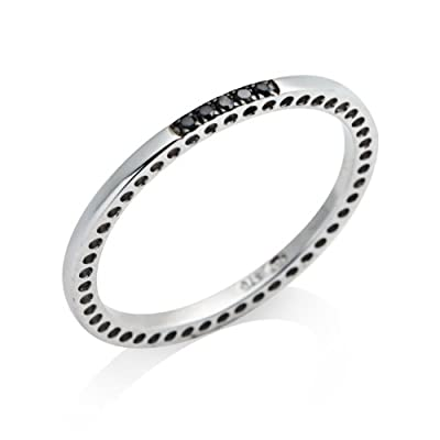 Miore Eternity Ring, 9ct White Gold women's' Black Diamond Ring MP9119R