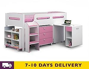 Julian Bowen Kimbo 3ft Wooden Pink Cabin Bed