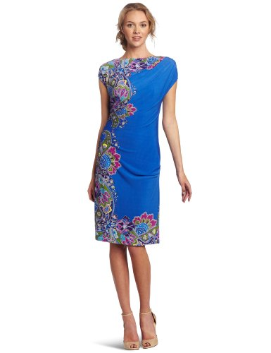 Donna Morgan Women's Cap Sleeve Asymmetrical Draped Dress