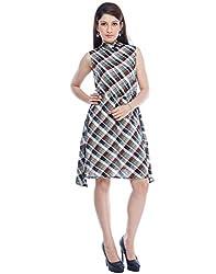 Designeez Multi-Colored Checkered Short Shift Dress
