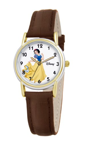 Disney Women's D084S007 Snow White Brown Leather Strap Watch