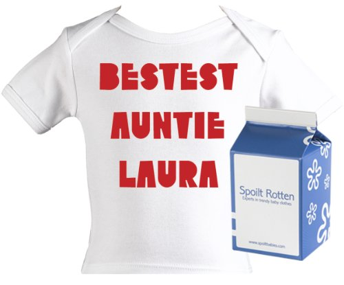 Spoilt Rotten - Bestest Auntie CUSTOM Baby PERSONALISED Lap T-Shirt 100% Organic Sizes 12-18 months + in funky Milk Carton