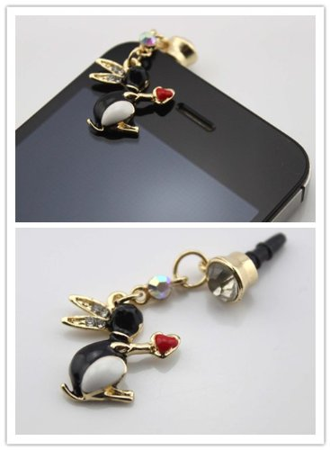 Big Dragonfly Crystal Cute Rabbit With Red Heart 3.5Mm Earphone Jack Accessory Dust Plug Stopper Ear Cap For Iphone 5 / Iphone 4 4S / Ipad / Ipod Touch / Samsung Galaxy S4 Note 2 / Sony / Htc / Blackberry And Other Cellphone Black (Color Varies)