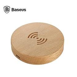 Baseus Mini Qi Wireless Beech Wood Charging Pad for Qi Standard Smartphones - APRICOT