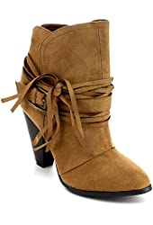 QUPID RAELYINN-13 Women Fringe Buckle Strap Stacked Chunky Heel Ankle Booties