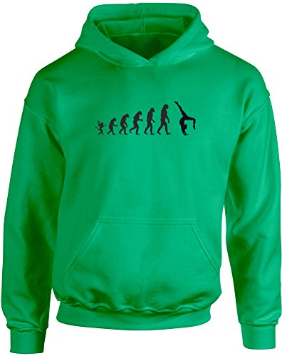 The Evolution Of Gymnastics, Kids Printed Hoodie - Kelly Green/Black 9-11 Years