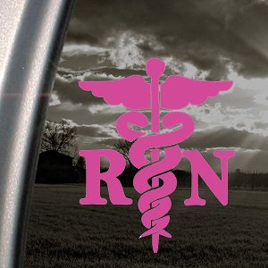 CADUCEUS-MEDICAL-CROSS-Registered-Nurse-RN-55-color-SOFT-PINK-Vinyl-Decal-Window-Sticker-for-Cars-Trucks-Windows-Walls-Laptops-and-other-stuff