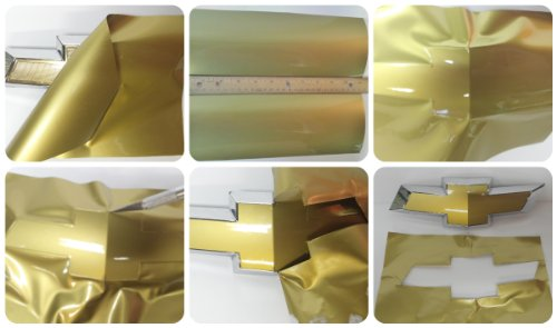 """DownardWrapsTM Emblem Cover Kit - Gold Decals (overlay) You Cut Chevy emblem covers from (2) 11"""" x 5"""" Sheets -"""