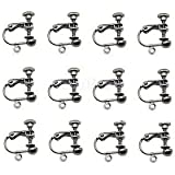 Alcoa Prime 12pc Gun Black Screw On Clip-on Ear Clip Hook Earrings Findings Non-piercing