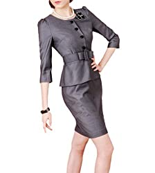 Purpura Erizo Womens Grey Faux 2 Piece Set Suit Belted Peplum Dress, Medium