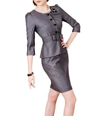 Purpura Erizo Womens Grey Faux 2 Piece Set Suit Belted