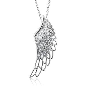 Sterling Silver WHITE Angel Feather Wing WHITE Diamond Pendant Necklace-0.25 carat