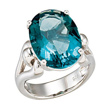 Sterling Silver Fluorite Ring 18 x 13 mm Solitaire Gem