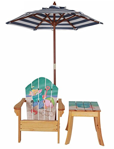 Kid's Winland Sand Pail Beautiful Hand-carved and Hand-painted Wood Outdoor Table and Chair Set with Umbrella