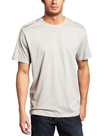 Spring+Mercer Men's Crew Neck Military Tee, Silver, Large