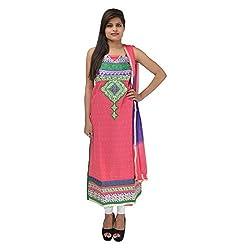 Kashish Creations Women Zari Pink & Green Semi Stitched Salwar Suit