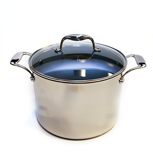 Velocity Series Stainless Steel Cookware with Ceramic Non-Stick Coating - Fast, Even Heating - Easy Release And Clean - Stay Cool Handles - Perfect For All Cooktops (8-Qt Covered Stockpot) (Stock Pot For Induction Cooktop compare prices)