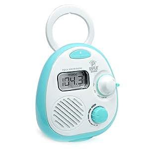 Pyle PSR14 Splash-Proof Water Resistant Mini Digital AM/FM Radio Alarm Clock with LCD Display and 3.5mm AUX Input, Digital