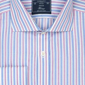Men's Blue & Pink Multi Stripe Classic Fit Formal Shirt