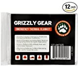 "Emergency Thermal Blankets (12 Pack) - Grizzly Gear - Folds to 52"" X 84"""