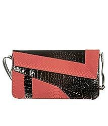 Di Grazia Snake Pattern Italian PU Leather Women's Shoulder Sling Clutch - Black and Red