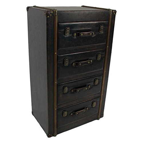 Storage Chest / Accent Chests Vintage Antique Faux Leather 4-drawer Chest - 22 in Wide x 15 in Deep x 38 in High (Chest Of Drawers 22 Inches Wide compare prices)
